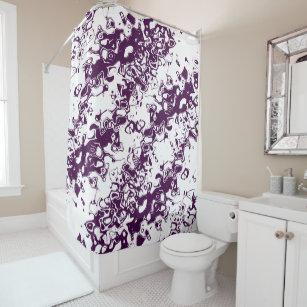 Deep Purple Violet Plum On White Shower Curtain