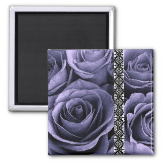 Deep Purple Wedding Rose Bouquet with Lace 2 Inch Square Magnet