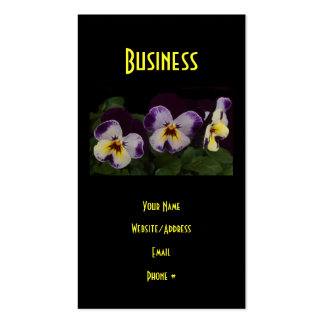Deep Purple White Pansies Business Cards