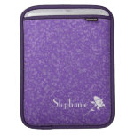 Deep Purple+White Rose-Personalize Name Sleeves For iPads