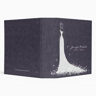 Deep Purple & White Wedding Dress & Vintage Lace Vinyl Binder