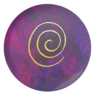 Deep Purple y pintura moderna del arte abstracto d Platos De Comidas