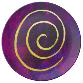 Deep Purple y pintura moderna del arte abstracto Plato De Cerámica