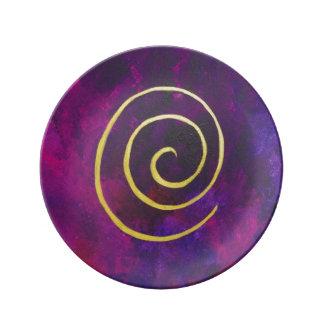 Deep Purple y pintura moderna del arte abstracto Platos De Cerámica