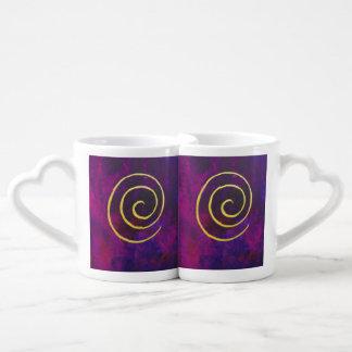 Deep Purple y pintura moderna del arte abstracto Set De Tazas De Café