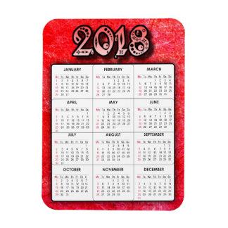Deep Red 2018 Calendar Magnet