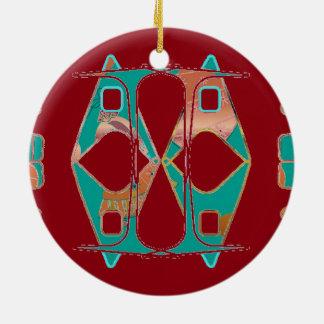 Deep Red and Aqua Abstract Ornament