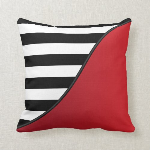 Deep Red and Black and White Stripes Reversible Throw Pillow
