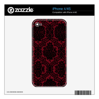 Deep red and black damask. iPhone 4 skin
