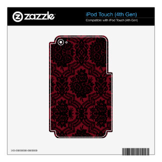 Deep red and black damask. iPod touch 4G decal