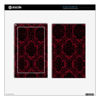 Deep red and black damask. kindle fire skins