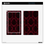 Deep red and black damask. skins for kindle fire