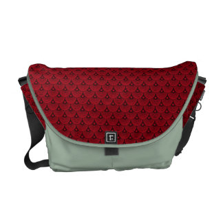 Deep Red and Black Fish Scale Pattern Messenger Bag