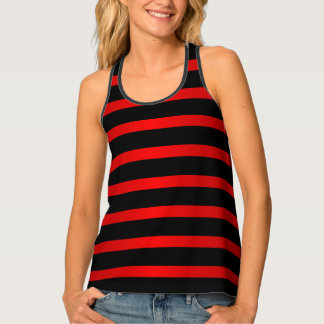 Deep Red and Black Stripes Tank Top