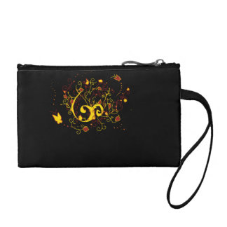 Deep Red and Golden Yellow Butterfly Design Coin Purse