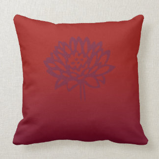 Deep red and purple lotus throw pillow