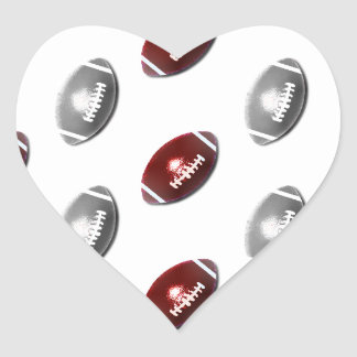 Deep Red and Silver Gray Football Pattern Heart Sticker