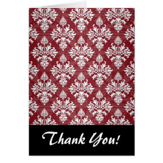 Deep Red and White Floral Damask Pattern Card