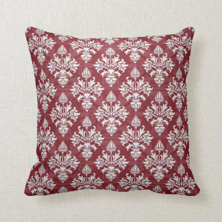 Deep Red and White Floral Damask Pattern Pillow