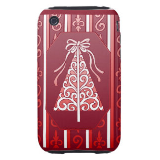 Deep Red And White Swirls Stripes Christmas Tree Tough iPhone 3 Cases