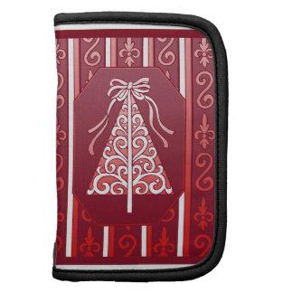 Deep Red And White Swirls Stripes Christmas Tree Folio Planner