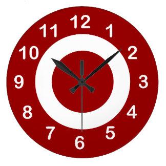 Deep Red and White Target-Circles Wall Clocks