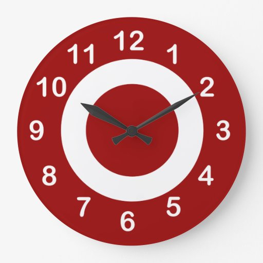 deep red and white target circles wall clocks zazzle