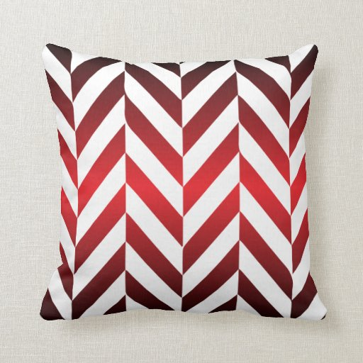 Throw Pillows Red And White : Deep Red and White Zigzag Design Throw Pillow Zazzle