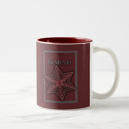 Deep red Bar Mitzvah design Two-Tone Coffee Mug