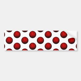 Deep Red Basketball Pattern Bumper Sticker