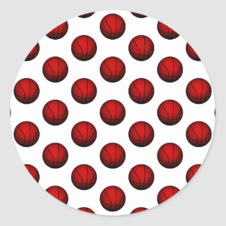 Deep Red Basketball Pattern Classic Round Sticker
