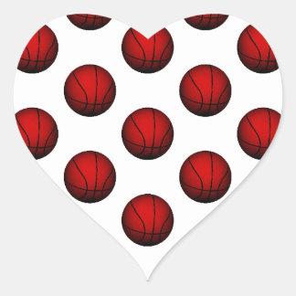 Deep Red Basketball Pattern Heart Sticker