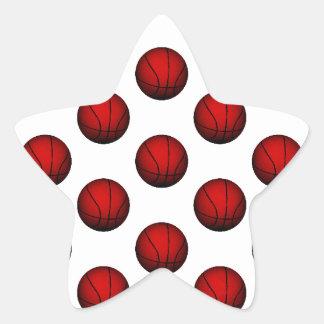 Deep Red Basketball Pattern Star Sticker