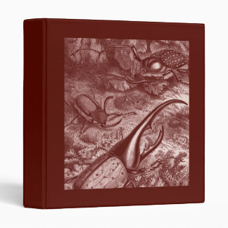 Deep Red Beetles Vintage Print Binder