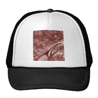 Deep Red Beetles Vintage Print Trucker Hat