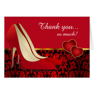 Deep Red, Black Damask and Red Pumps Card