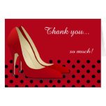 Deep Red, Black Polka Dots and Red Pumps Stationery Note Card