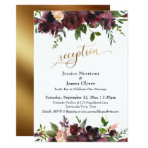 Deep Red Burgundy Floral Gold Reception Typography Invitation