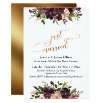 Deep Red Burgundy Floral Gold Script Just Married Invitation