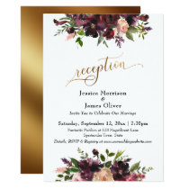Deep Red Burgundy Floral Gold Script Reception Invitation