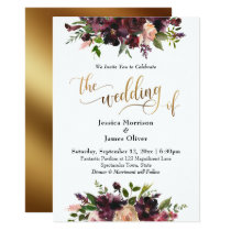Deep Red Burgundy Floral Gold The Wedding of Invitation