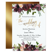 Deep Red Burgundy Floral Gold Typography Wedding Invitation