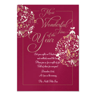 Deep Red Christmas Party Bauble Invitation