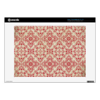 Deep Red Damask Classic Vintage Maroon Print Acer Chromebook Decal