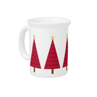 Deep red damask modern Christmas tree Beverage Pitcher