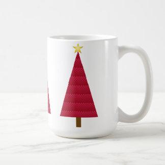 Deep red damask modern Christmas tree Coffee Mug