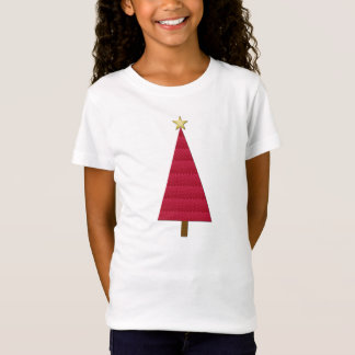 Deep red damask modern Christmas tree T-Shirt