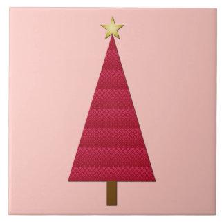 Deep red damask modern Christmas tree Tile