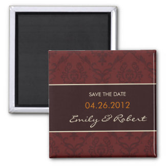 Deep Red Damask save the date wedding magnet