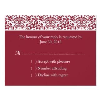 Deep Red Damask Wedding RSVP Reply Card